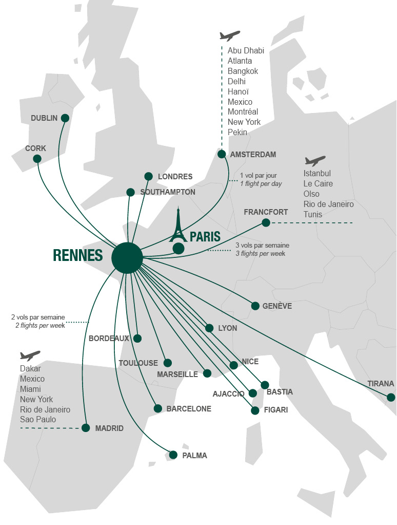Flights to and from Rennes