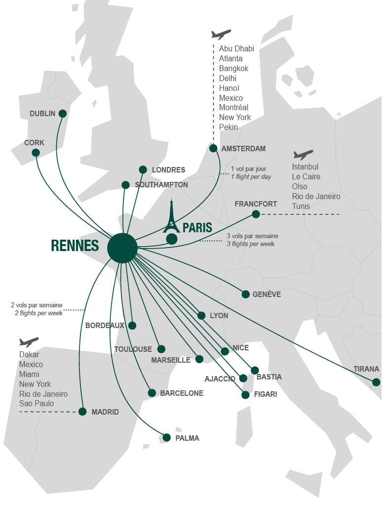 Liaison aériennes vers et depuis Rennes